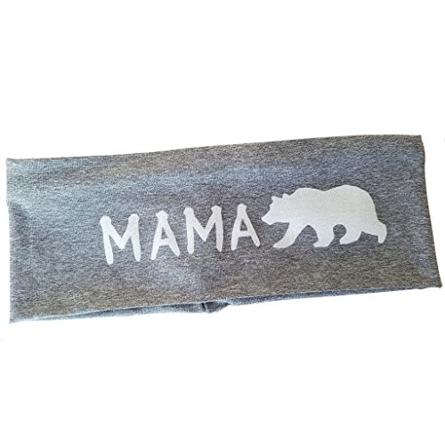 Wide Grey Mama Bear Yoga Headband