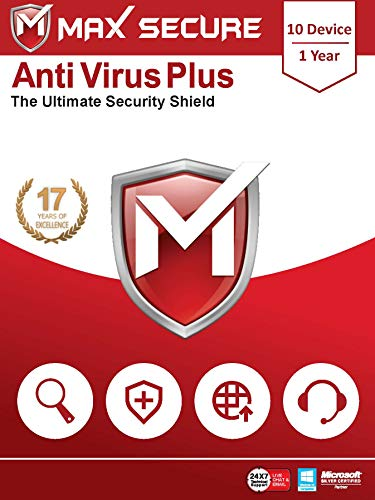 Max Secure Software Antivirus Plus for PC 2019 | 10 Device | 1 Year (Activation Key Card)