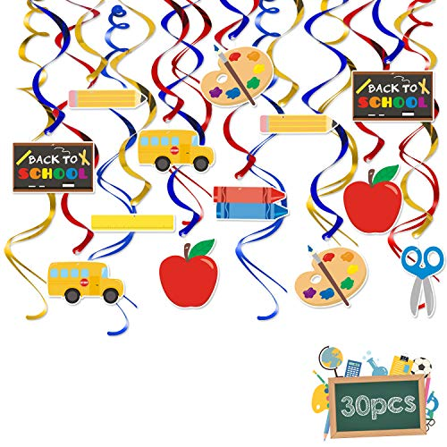 30Pcs Back to School Hanging Swirl Decorations Ceiling Streamers for Classroom Decor First Day of School Teacher Gift]()