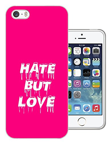 002883 - Hate But Love Girly Pink Quote Design iphone 4 4S Fashion Trend CASE Gel Rubber Silicone All Edges Protection Case Cover
