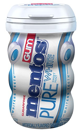 Mentos Pure White Sugar-Free Chewing Gum with Xylitol, Sweet Mint, 50 Piece Bottle