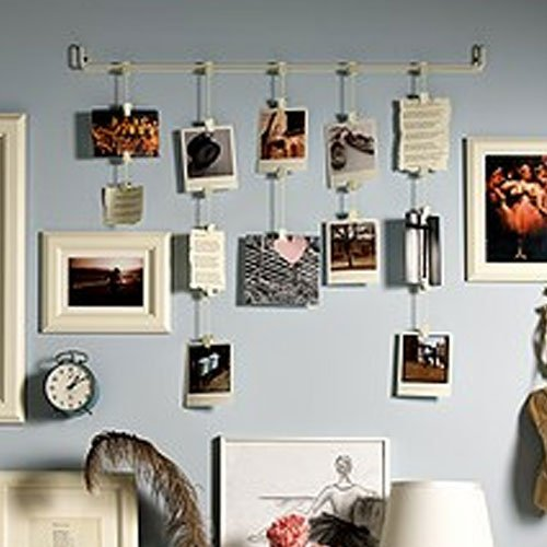 Hanging Photo Organizer Rail With Chains and 32 Clips Cream