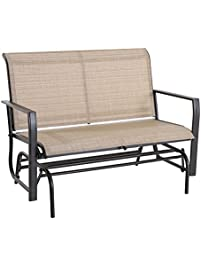 Cloud Mountain Patio Glider Bench Outdoor 2 Person Swing Loveseat Rocking  Seating Patio Swing Rocker Lounge