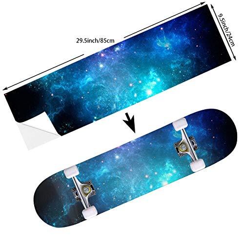 STREET FFX Fashion Funny Skateboard Cruiser Deck and Balance Board Stickers Decals Grip Tape - 9.5 x 33.5 Inches - Galaxy Nebula Space (Stickers Longboard Bottom)