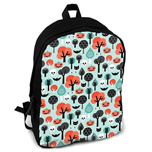 CZZD Crazy Halloween Pumpkin Cat and Skull Travel Laptop Backpack Schoolbags Men and Women On -