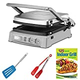 Cuisinart GR-150 Griddler Deluxe, Brushed Stainless + 8-inch Nylon Flipper Tongs + Silicone Spatula + 125 Best Indoor Grill Recipes