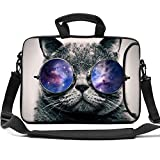HAOCOO Stylish Art Ultraportable Waterproof Neoprene Laptop Bag Sleeve with Padded Handle, Adjustable Shoulder Strap & External Side Pocket, Fits Various Laptops (Cool Cat, 15 Inch)
