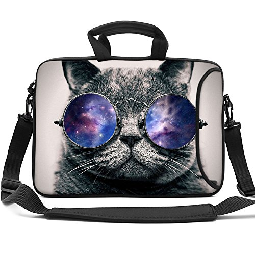 HAOCOO Stylish Art Ultraportable Water-Resistant Neoprene Laptop Bag Sleeve with Padded Handle, Adjustable Shoulder Strap & External Side Pocket, Fits Various Laptops (Cool Cat, 13.3 Inch)