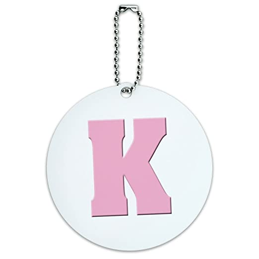 letter k initial baby girl block font pink shower round luggage id tag card suitcase carry
