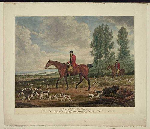 1930 Photo Richard Davis, huntsman to his majesty's harriers, 1789-1812 2 men on horseback, with dogs, fox hunting. Location: England