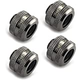 "XSPC G1/4"" to 10mm ID, 14mm OD PETG Triple Seal Fitting, Black Chrome, 4-pack"