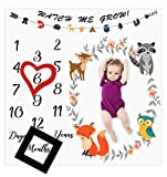 baby boy nursery ideas Baby Monthly Milestone Blanket Woodland Animals Personalized Photography Props Backdrop Blankets for Infant Newborn Swaddling Boy Girl Baby Shower Gifts (Woodland Animals)