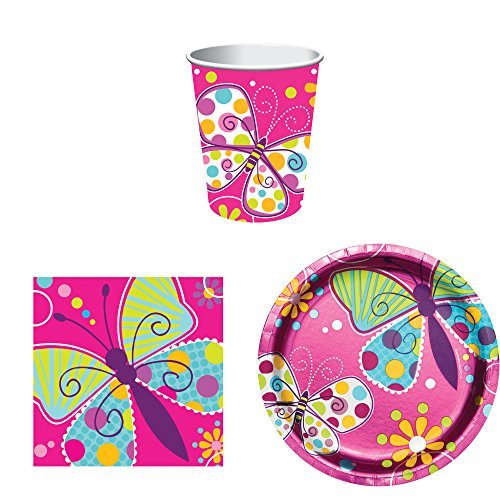 Butterfly Sparkle Birthday Party Supplies Set for 16: Plates, Napkins, and Cups