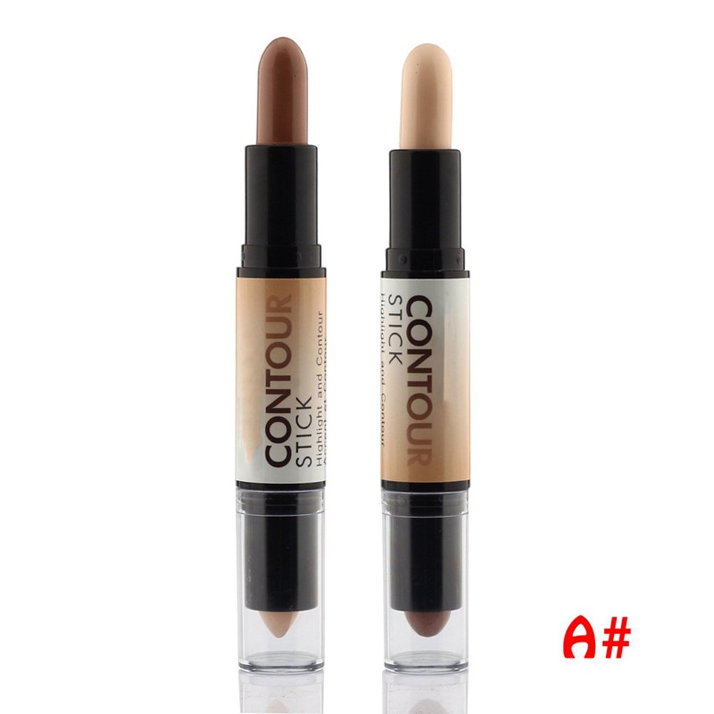 Tmalltide Makeup Creamy Double-ended 2 in1 Contour Stick Contouring Highlighter Bronzer Create 3D Face Concealer Full Cover Blemish (A)