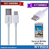 Syrox 20-Pack USB Type-C Cable, Reversible 4 ft Ultra Durable Fast Charging for General Mobile GM5 Plus, Samsung Galaxy Note 8, S8 Plus, LG V30, V20, G6, G5, Google Pixel, 6P, Nintendo Switch and All