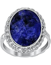 Orchid Jewelry 925 Sterling Silver Blue Sodalite Statement Ring For Women