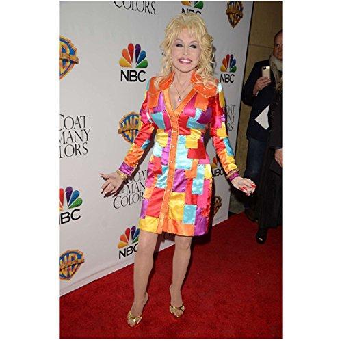 Dolly Parton on Red Carpet Wearing Many Colored Outfit 8 x 10 Inch Photo -