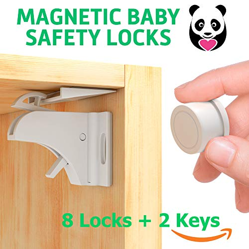 Child Safety Magnetic Cabinet Locks - Invisible Baby Proof Latch Set 8 Locks & 2 Keys Heavy Duty Locking System for Proofing Cabinets Drawers Doors Kitchen with 3M Adhesive (Tools aren't Required)