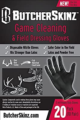 ButcherSkinz Field Dressing and Game Processing Heavy Duty Nitrile Gloves, One Size, Black (Pack of 20)