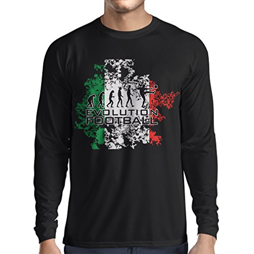 fan products of lepni.me N4452L Long Sleeve t Shirt Men Football Evolution - Italy (Large Black Multi Color)