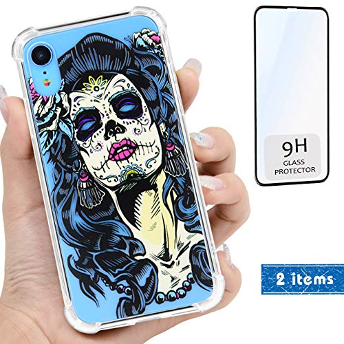 (iProductsUS Compatible with iPhone XR Clear Case and Screen Protector, Print Skull (Day of The Dead) Design Crystal Slim Cover, Hard PC Back + Soft TPU Bumper Protective and Shockproof Cases (6.1