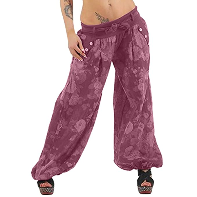 a0d95541572 UOFOCO Casual Elastic Pants Womens Plus Size Print Pants Loose Cropped Full  Length Trousers at Amazon Women s Clothing store