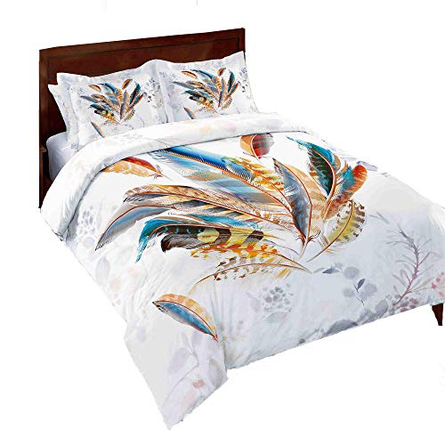 AMOR & AMORE 3 Pcs White Feather Comforter Set Dreamcatcher Bedding, Bohemian Bedding Boho Chic Queen Comforter Set(Queen Size)
