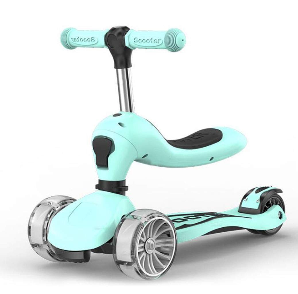 Children's scooter kick scooter children's kids 3-wheel scooter, foldable 3 in 1 super wide wheel kids scooter with detachable seat, adjustable height handle, scooter children boys and girls 1 or more by JBHURF (Image #1)