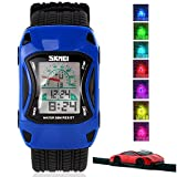 Kids Watches LED Waterproof 3D Car Silicone Children Toddler Wrist Watches Time Teacher Gift for Boys Girls Little Child Blue