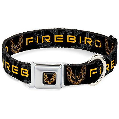 Dog Collar Seatbelt Buckle Pontiac Firebird Logo Black Grays Golds 9 to 15 Inches 1.0 Inch Wide ()