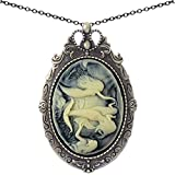 Mermaid Sister Brooch Antique Brass Shield Shape Pendant Necklace Two Way Jewelry 20'' Chain Pouch Gift