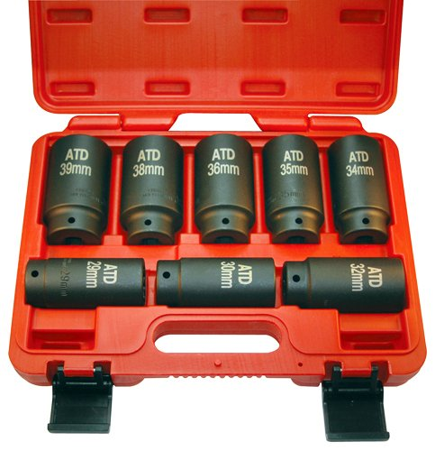 ATD Tools (8628) 12-Point 8-Piece Axle/Spindle Nut Socket Set