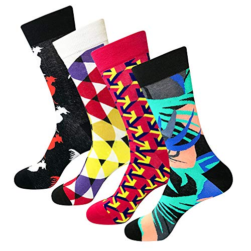 Argyle Triangle Top - Bonangel Men's Fun Dress Socks - Colorful Funny Novelty Crazy Crew Socks Packs with Cool Argyle Pattern (Triangle)
