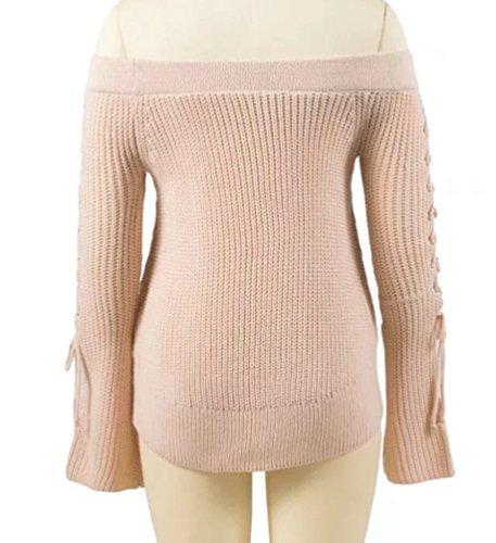 YAANCUN Mujer Otoño E Invierno Diseño Sin Tirantes Suéter Manga Larga Top Rosa
