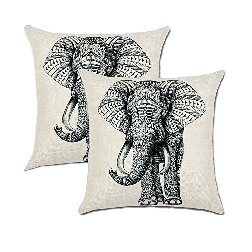 Set of 2 Jahosin Throw Pillow Covers 18 X 18 Inches ,Decorative Elephant Cushion Case (Sketch Elephant)