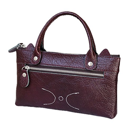 Zantec Cartera de cuero simple de la moda de la mujer Bolso de mano linda de la cartera del negocio del ocio del gato Púrpura