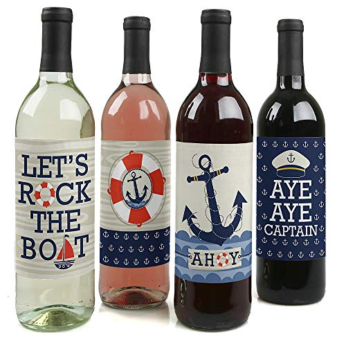 Nautical Birthday Party Ideas (Ahoy - Nautical - Baby Shower or Birthday Party Decorations for Women and Men - Wine Bottle Label Stickers - Set of)