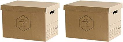 Baffect Caja de almacenamiento de cartón corrugado con tapa Caja ...