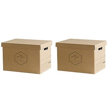 Baffect Caja de almacenamiento de cartón corrugado con tapa ...