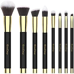 Makeup Brushes EmaxDesign 8 Pieces Makeup Brush Set Face Eye Shadow Eyeliner Foundation Blush Lip Powder Liquid Cream Cosmetics Blending Brush Tools (Golden Black)