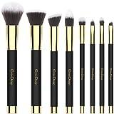 eye primer brush - Makeup Brushes EmaxDesign 8 Pieces Makeup Brush Set Face Eye Shadow Eyeliner Foundation Blush Lip Powder Liquid Cream Cosmetics Blending Brush Tools (Golden Black)