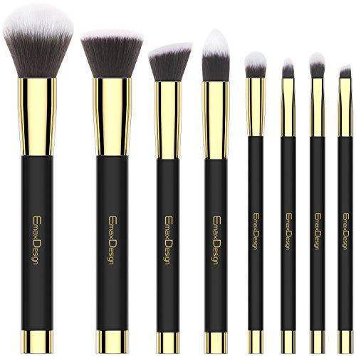 Makeup Brushes EmaxDesign 8 Pieces Makeup Brush Set Face Eye Shadow Eyeliner Foundation Blush Lip Powder Liquid Cream Cosmetics Blending Brush Tools (Golden Black) 51rzYfkIhIL