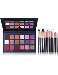 Pro 18 Colors Eyeshadow Palette With 12pcs Makeup Brushes...