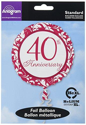 Anagram International Ruby Elegant Scroll 40th, Multicolor (40th Anniversary Balloons)