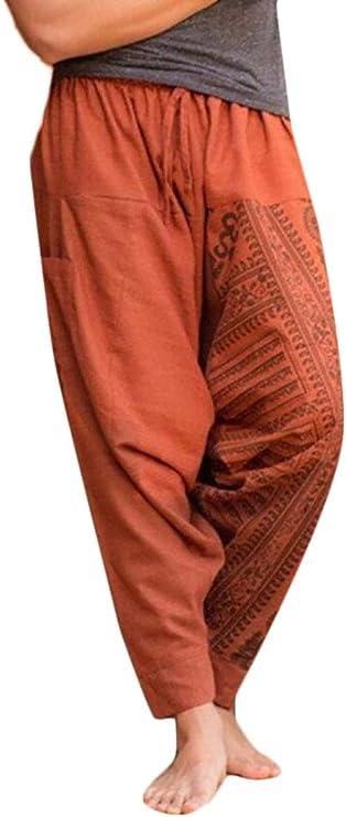 Smallwin Mens Drop Crotch Print Sport Yoga Casual Elastic Waist Pants