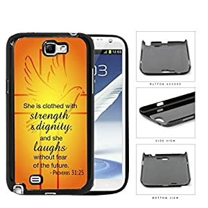 Proverbs 31:25 Bible Verse Orange & Yellow Background with Cross & Dove Overlay [Samsung Galaxy Note II 2 N7100] Hard Snap on Plastic Cell Phone Cover