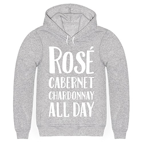 Rose Cabernet Chardonnay All Day Heathered Light Gray 2X Mens/Unisex Pullover Hoodie by LookHUMAN