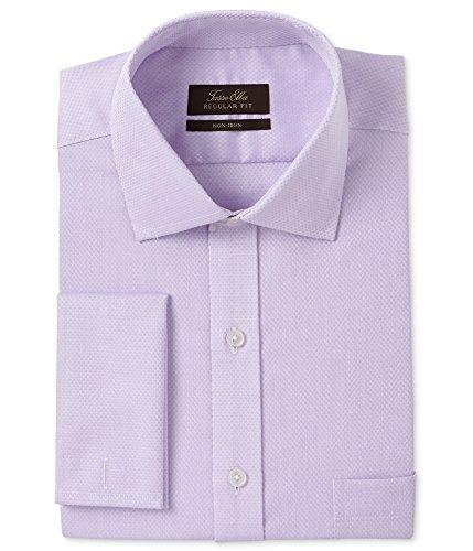 Tasso Elba Mens Non-Iron Button Up Dress Shirt Purple 16 1/2 from Tasso Elba