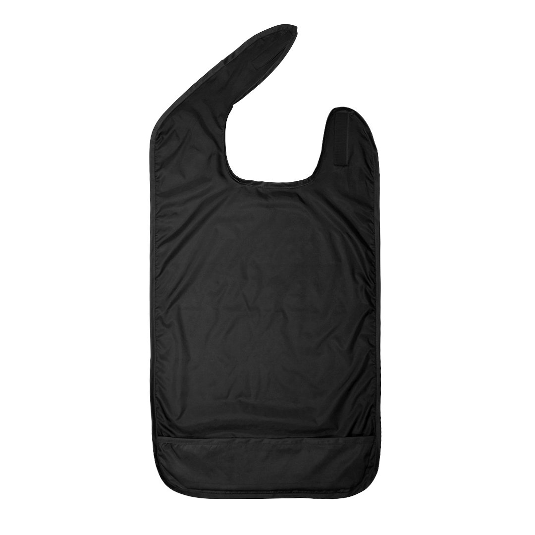 Betty Dain Adult Bib - Waterproof, Crumb Catcher, Clothing Protector, Extra Long, Black