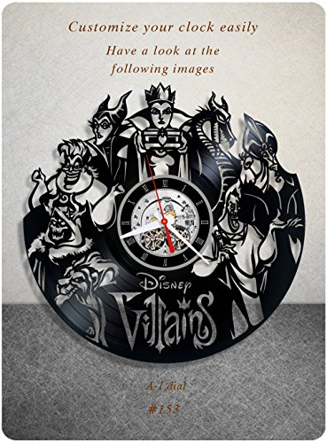 Disney Wall Clocks - Disney Villains vinyl clock, vinyl wall clock, vinyl record clock, walt disney clock maleficent the evil queen jafar captain hook scar gaston wall art home decor kids gift 153 - (a1)